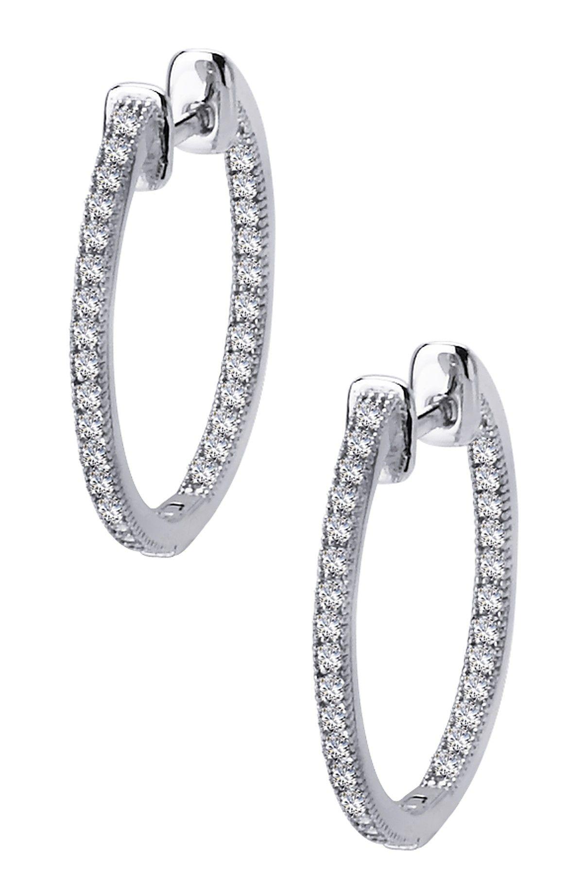 Lafonn Micro Pave Simulated Diamond Hoop Earrings