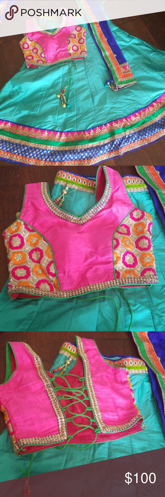 Girls chaniya choli! Garba, navratri wear! Very beautiful choli with strings on back. Blue odhani with border works,  Chaniya 's waistlines n bottom with nice border works! Choli size can be adjusted up 32. Lengh is 33inches. FINAL PRICE! Other #chaniyacholi