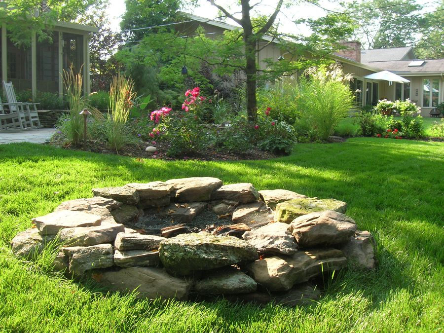 All natural fire pit pinmydreambackyard my dream for Backyard rock fire pit ideas