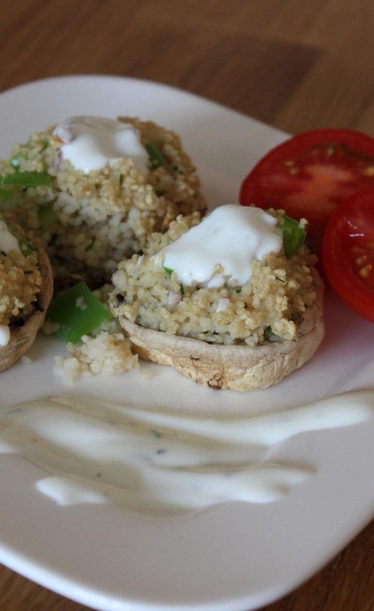 Mit Couscous gefüllte Champignons  - die perfekte Beilage zum Grillen