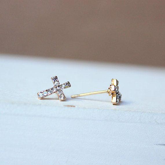 Orecchini con croce orecchini dorati gioielli minimal di Stonivine