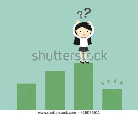 Business concept, Business woman is confusing because the chart going down. Vector illustration.