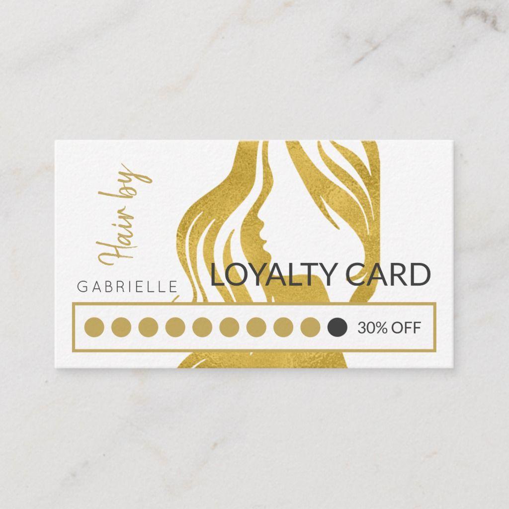 Modern gold white hair salon loyalty punch business card   Zazzle ...