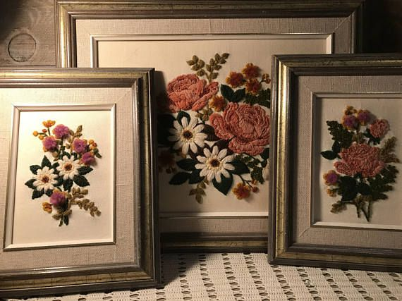 Embroidery Flower Framed Pictures Set of Three Vintage   Home ...