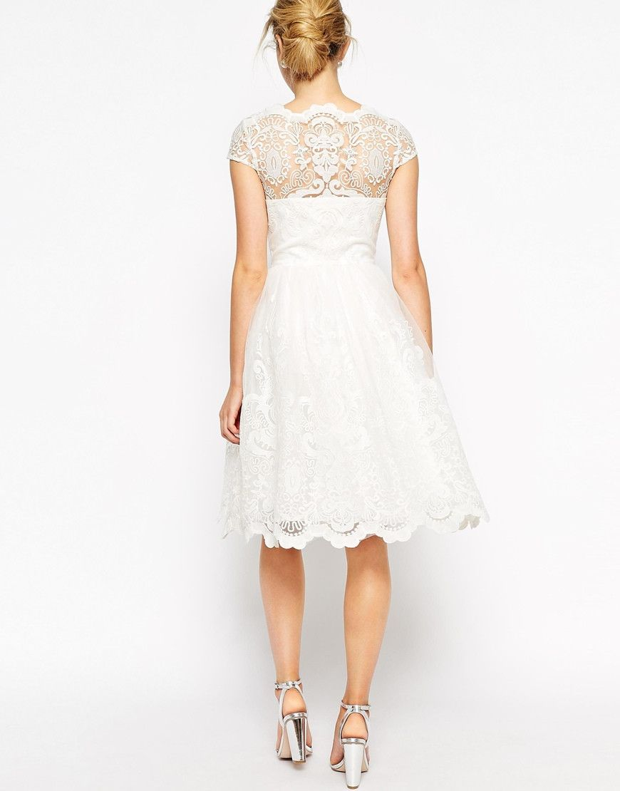 Modest white lace wedding midi dress with cap sleeves my style
