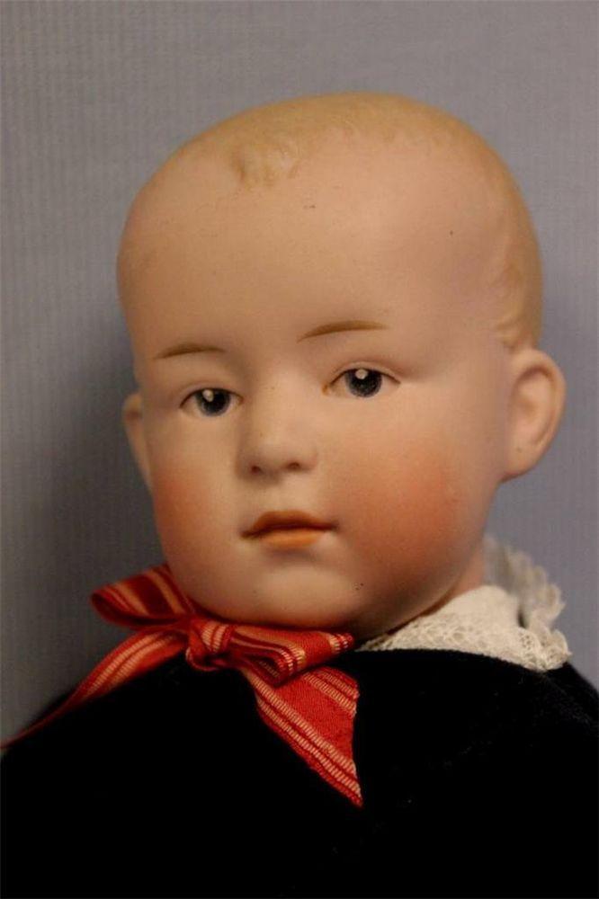 "14.5"" Antique GEBRUDER HEUBACH Doll c1900 POUTY BOY Intaglio Eyes, Fully Jointed"