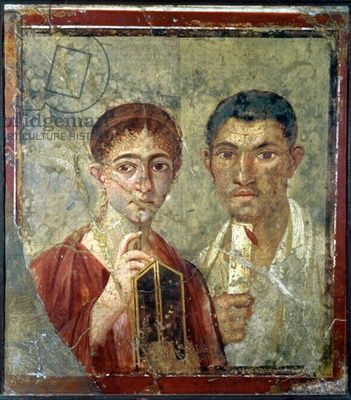 Portrait of the Baker, Terentius Neo and his wife, from the atrium of a house in Pompeii, 1st century AD (fresco on plaster)