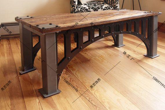 American-French-industrial-furniture-loft-old-vintage-wrought-iron ...