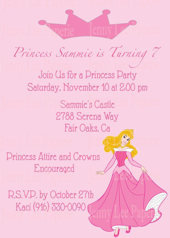 Princess Aurora Birthday Invitation DIY Custom