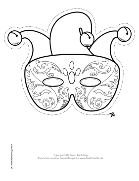 This Mardi Gras Jester Outline Mask features the outline