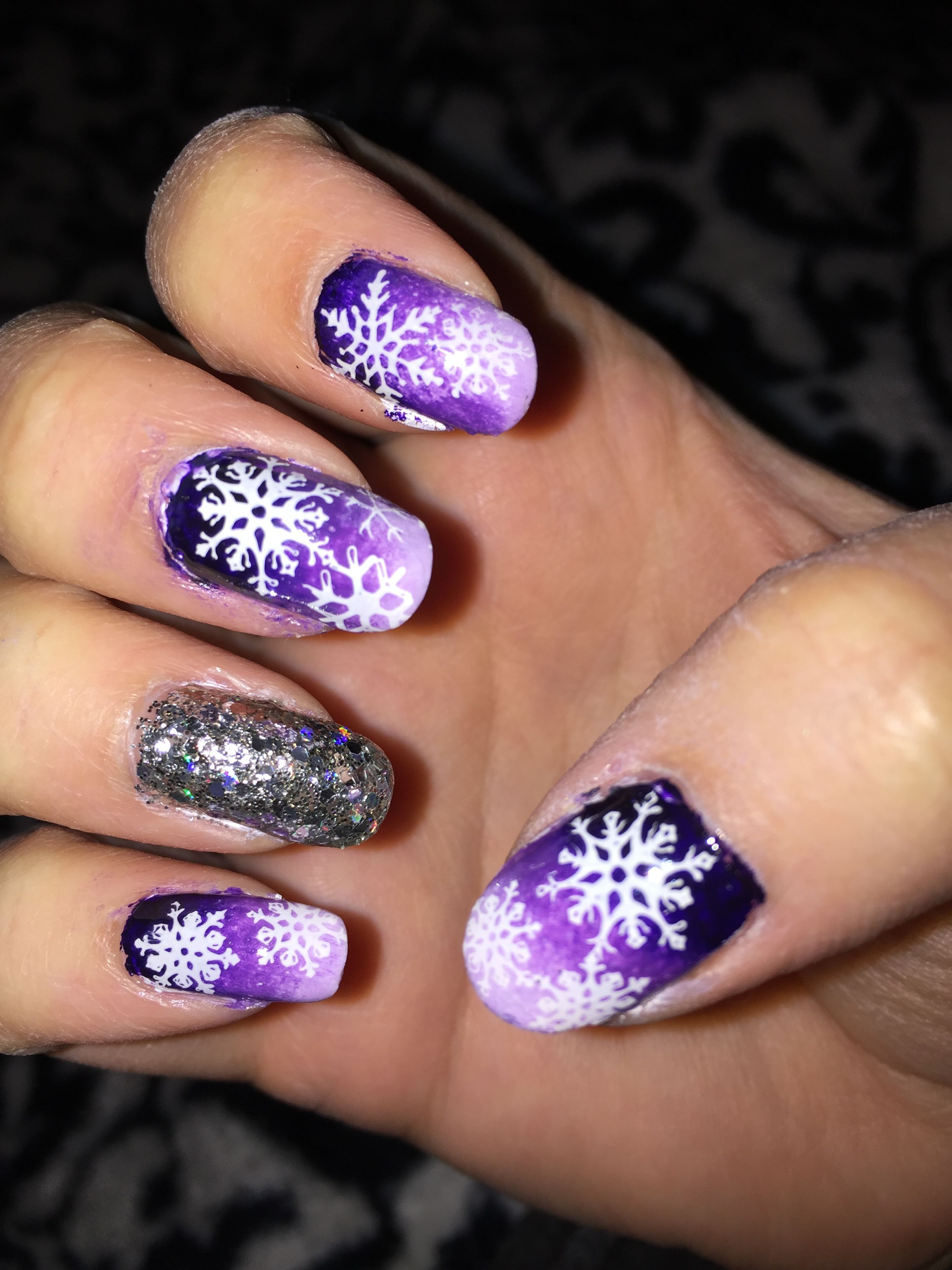Purple ombré nail art silver glitter accent stamped | My nail art ...