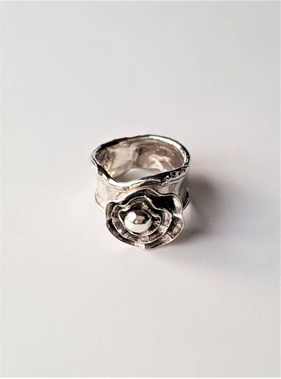 Sterling silver statement ring. Silver flower ring. Hand made