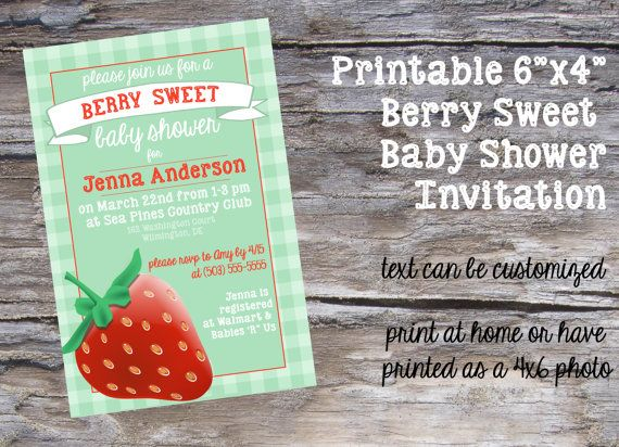 Berry Sweet Baby Shower Invitation printable file from ...