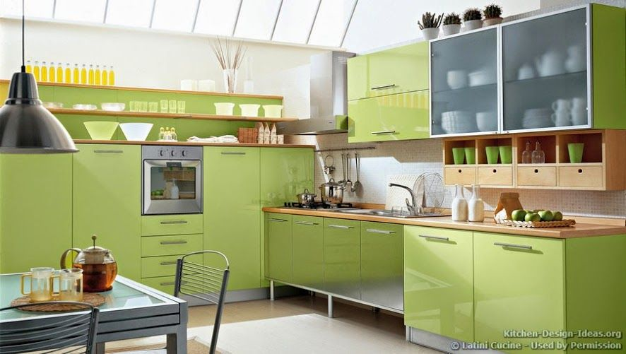 Best A Luxury Modern Kitchen With Green Cabinets And Vaulted 400 x 300