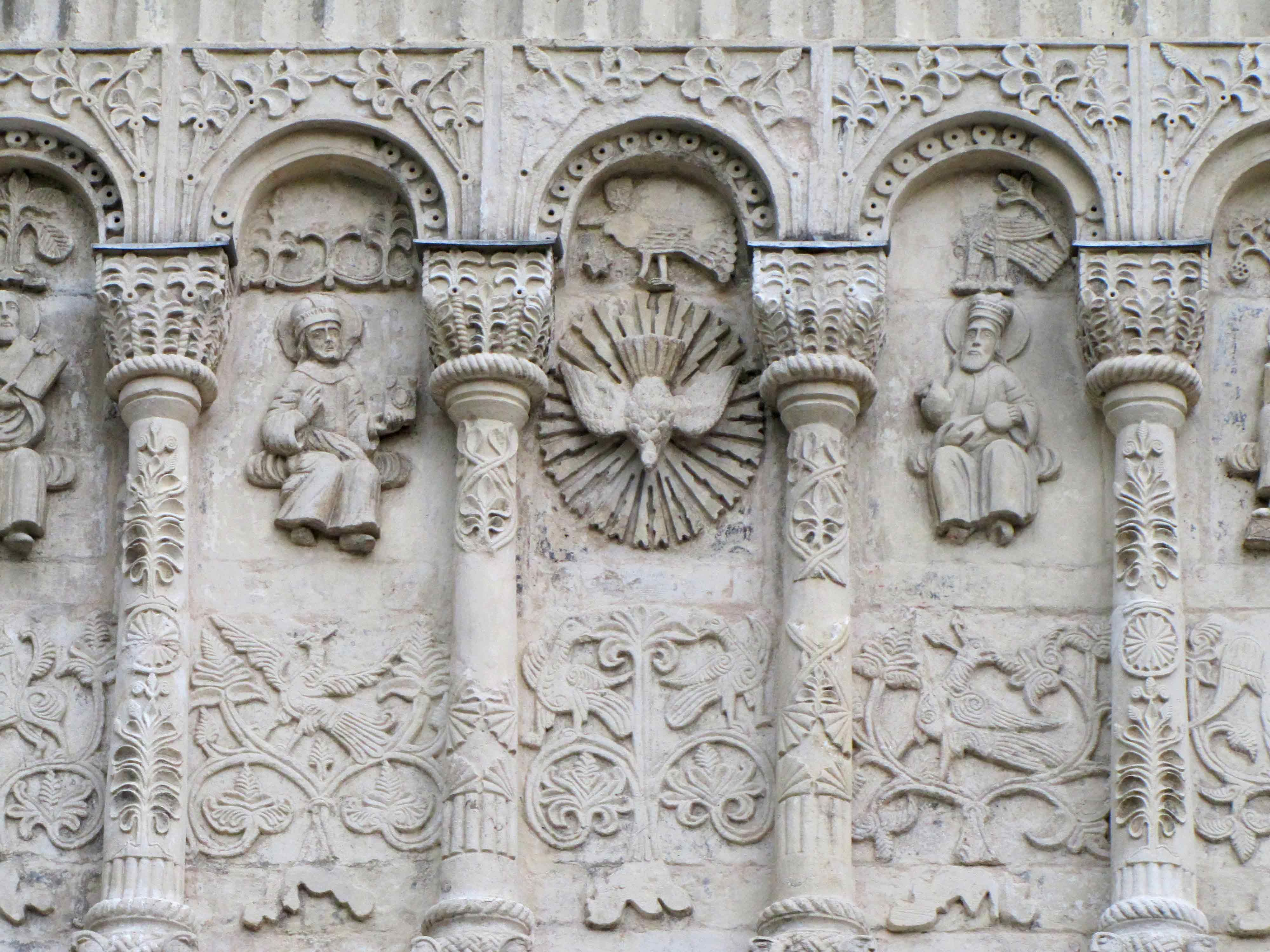 White stone carving of a cathedral in vladimir russia