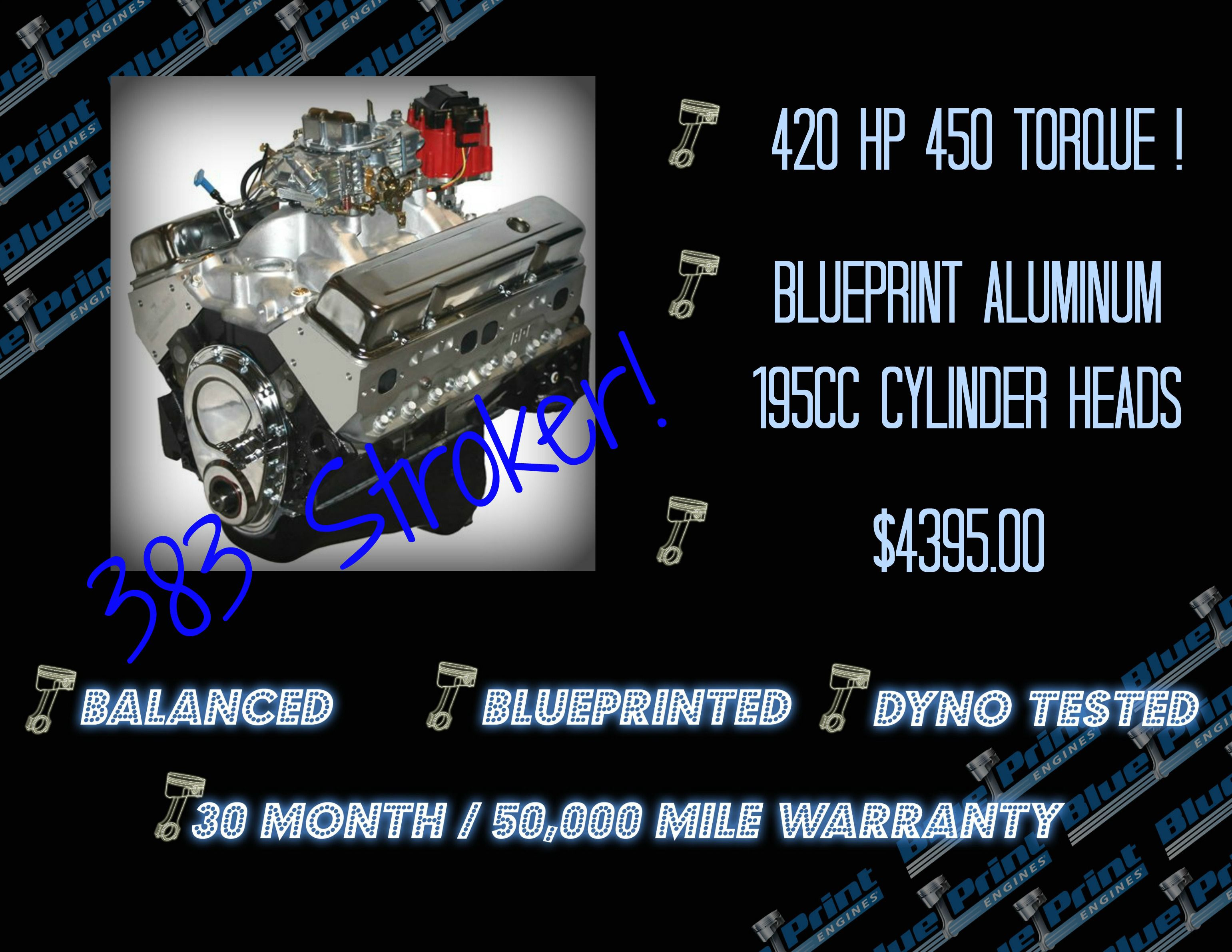 383ci stroker crate engine small block gm style dressed blueprint engines part number bp3834ctc1 is one of many 383 choices blueprint offers to customers in malvernweather Image collections
