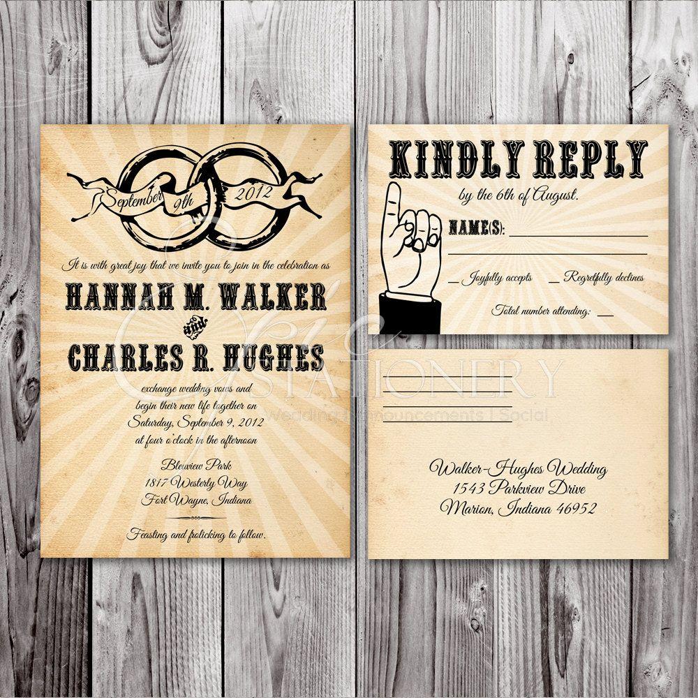 Vintage Rings Wedding Invitation & RSVP Postcard by EpicStationery