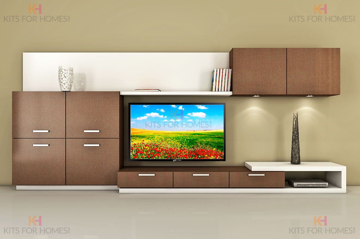 TV Unit in MDF and Shutters in high gloss Acrylic finish. | TV WALL ...