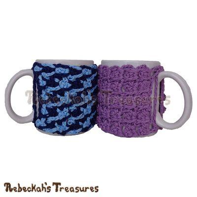 Picot Drops Mug Cozy Crochet Pattern - $1.75 Digital PDF Download by Rebeckah's Treasures! Grab your copy today here: https://goo.gl/TO1F1K #crochet #pattern #picot #mugcozy #HolidayStashdownCALl2016 #gift
