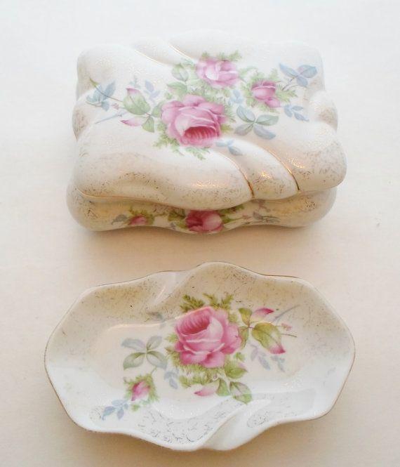 Vintage Porcelain Dresdren Rose Vanity or by alsredesignvintage