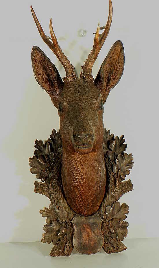 fine carved wood deer head ca. 1900