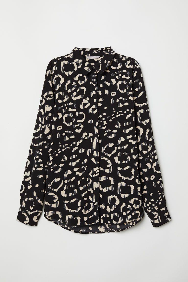 c2622d3a54528 Long-sleeved Blouse in 2019 | w a r d r o b e | Black blouse, Blouse ...
