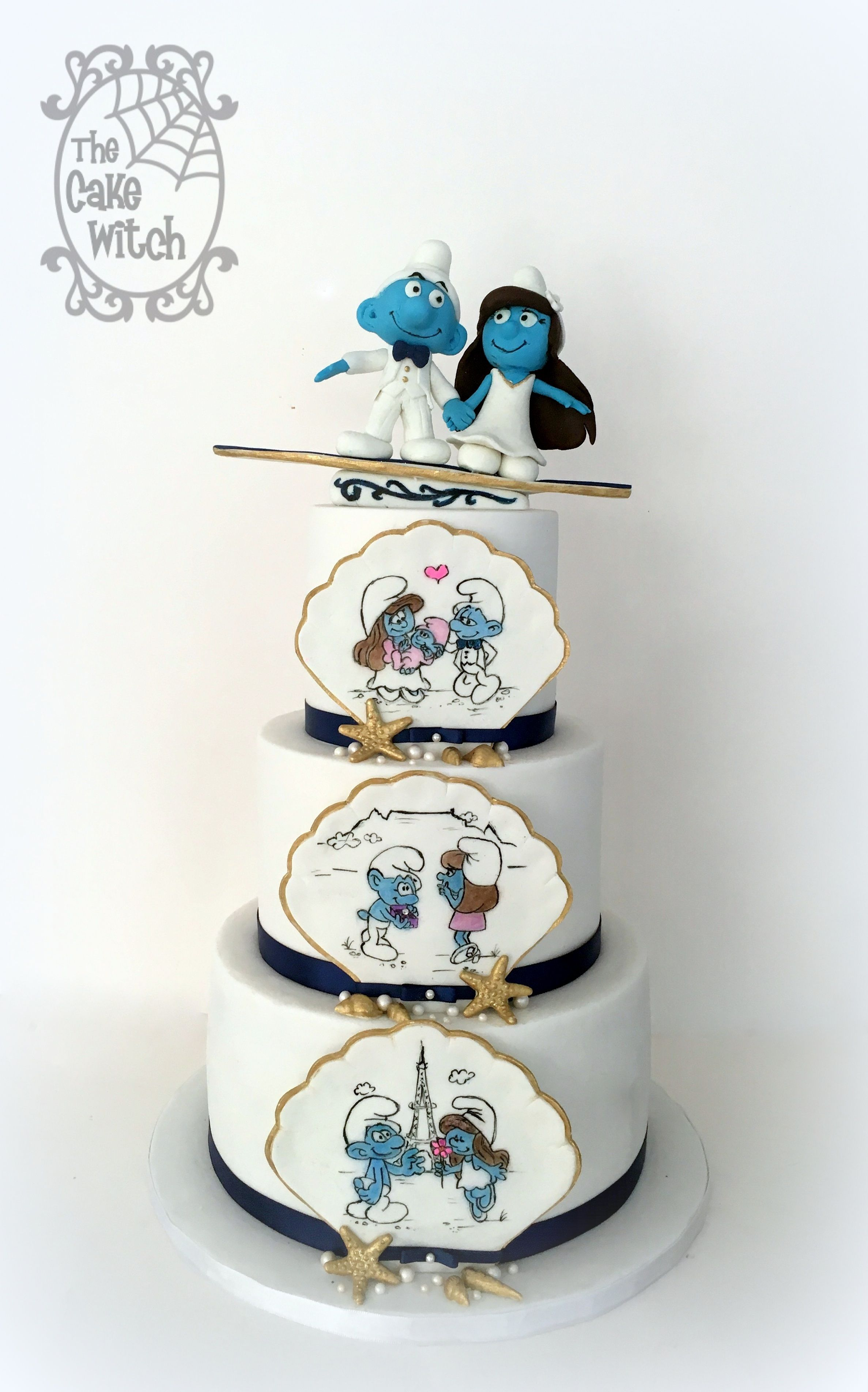 Smurf Sea Themed Wedding Cake with Surf Board | The Cake Witch - My ...