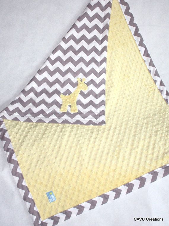 Gray Chevron Amp Yellow Minky Baby Blanket With By
