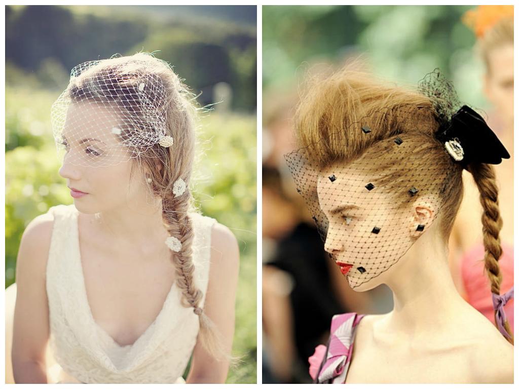 braided-hairstyles-with-birdcage-veil | hair | veil