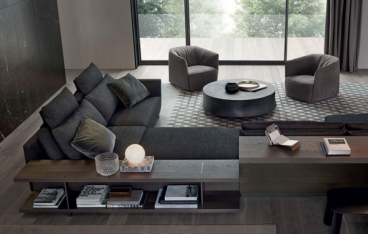 poliform bristol sofa dark grey fabric with medium grey velvet pillow love pinterest. Black Bedroom Furniture Sets. Home Design Ideas