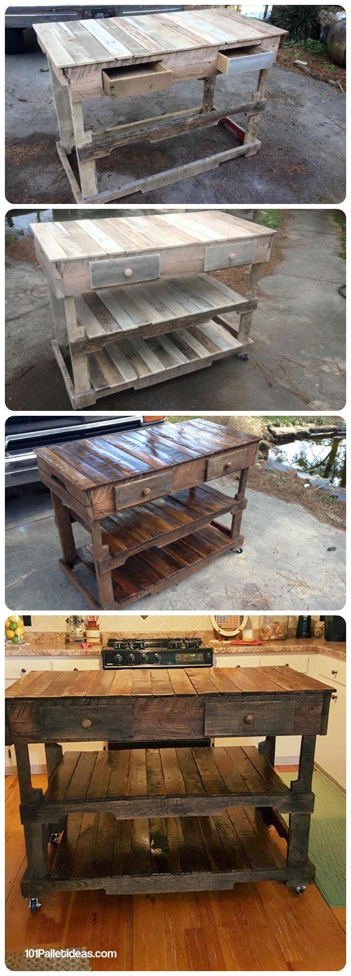 Pallets wood made kitchen island 101 pallet ideas for Pallet kitchen island plans