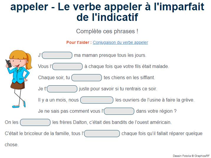 Le Verbe Appeler A L Imparfait Exercices Conjugaison Verbe Imparfait
