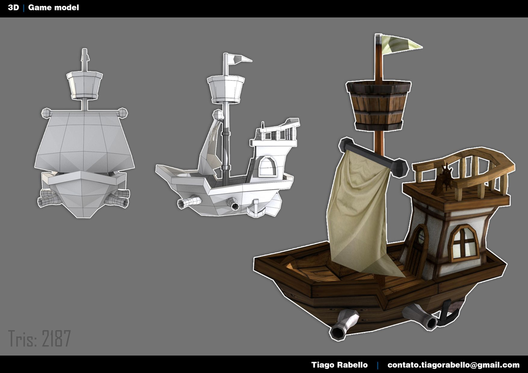 3D low poly ship model by *Tiago Rabello