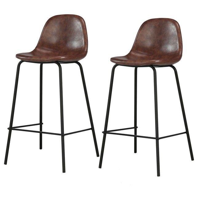 Chaise De Bar Mi Hauteur Henrik 65 Cm Lot De 2 En 2020 Chaise Bar Chaise De Bar Design Et Chaise