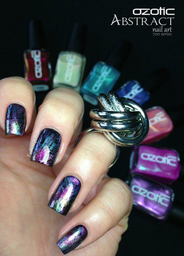 Fashion Polish: Ozotic 700 series review and Abstract nail art ...