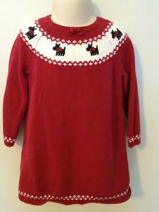 a9ee7f9cfda9 EUC 4T Gymboree Holiday Friends Red Scottie Dog Christmas Winter Sweater  Dress