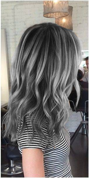 Love the charcoal base with lighter highlights! Gray Hair Charcoal Hair Granny Hair