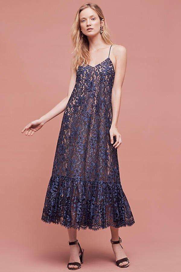 Anthropologie Celestial Lace Maxi Dress Moulinette Souers Blue Sz 10 ...