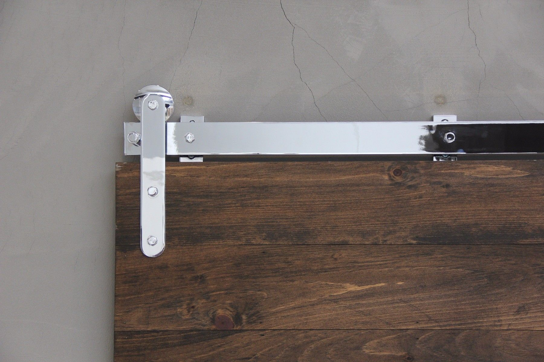 Pinnacle Chrome Barn Door Hardware Front Close Up