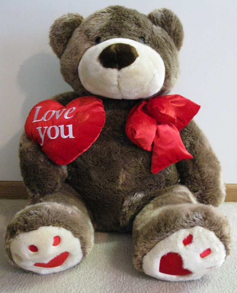 "Jumbo Valentine's Teddy Bear Plush 45"" Huge Brown Stuffed"