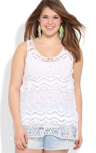 Plus Size Racerback Tank with Zig Zag Embroidered Crochet