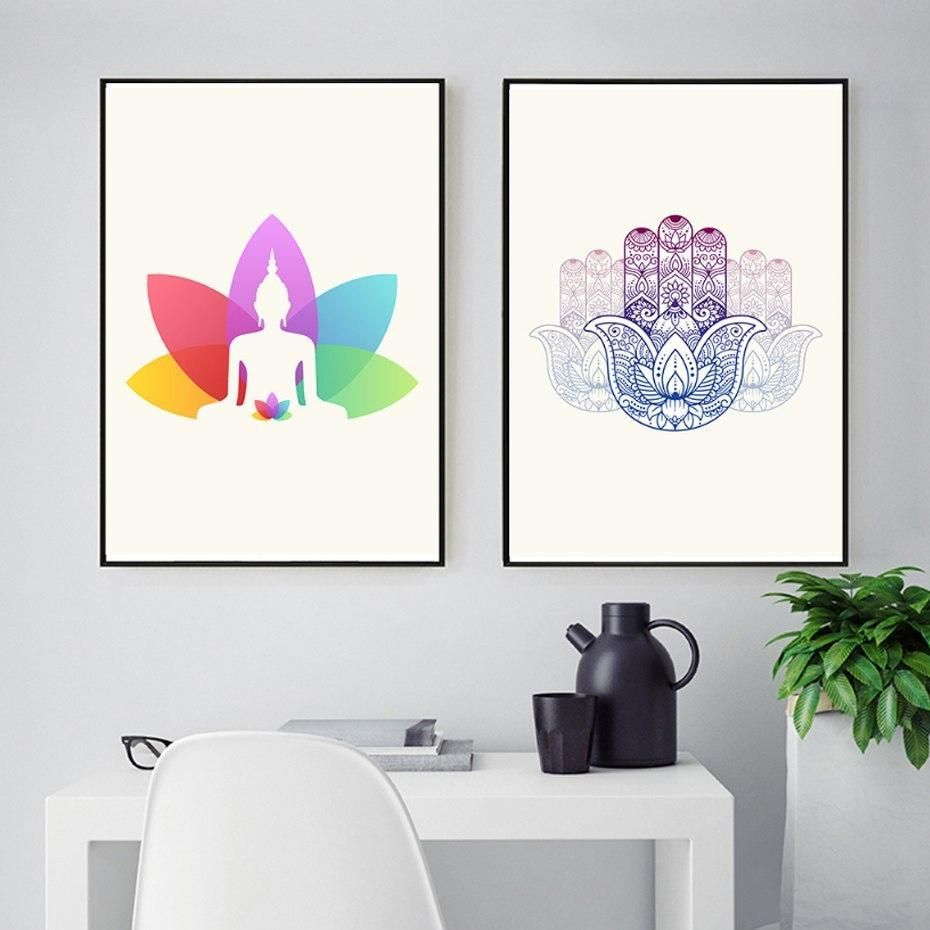 Indian Meditation Wall Art Posters Colorful Patterned Spiritual Paintings Canvas Prints For Yoga Studio Workshop Modern Living Room Decor Nordicwallart 2020 Modern