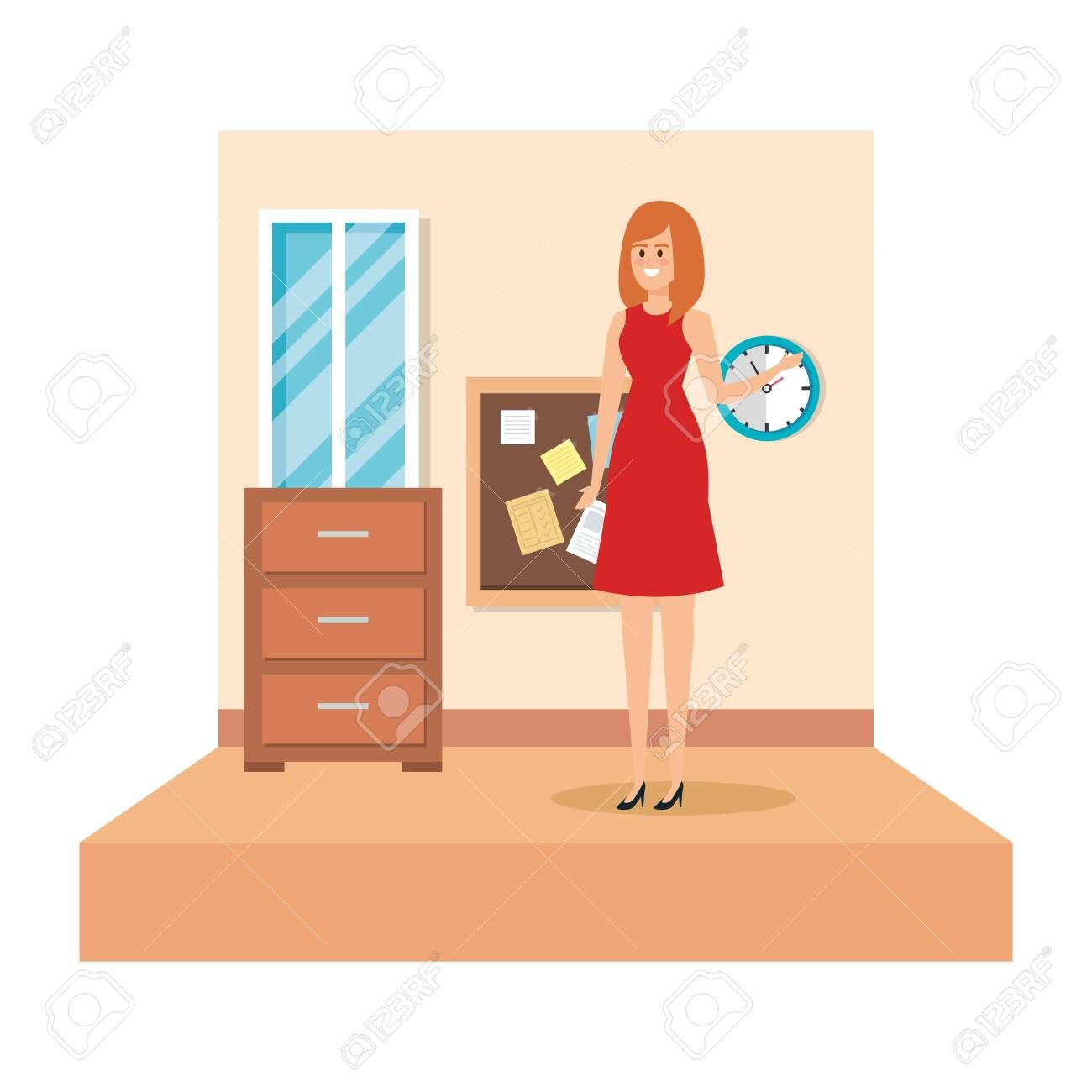 female teacher in school classroom vector illustration design ,