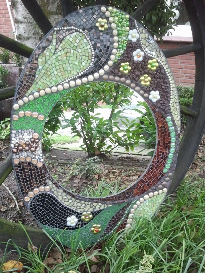 Spiegel ca 90x60 mit tiffany softglas crashglas for Spiegel 90x60
