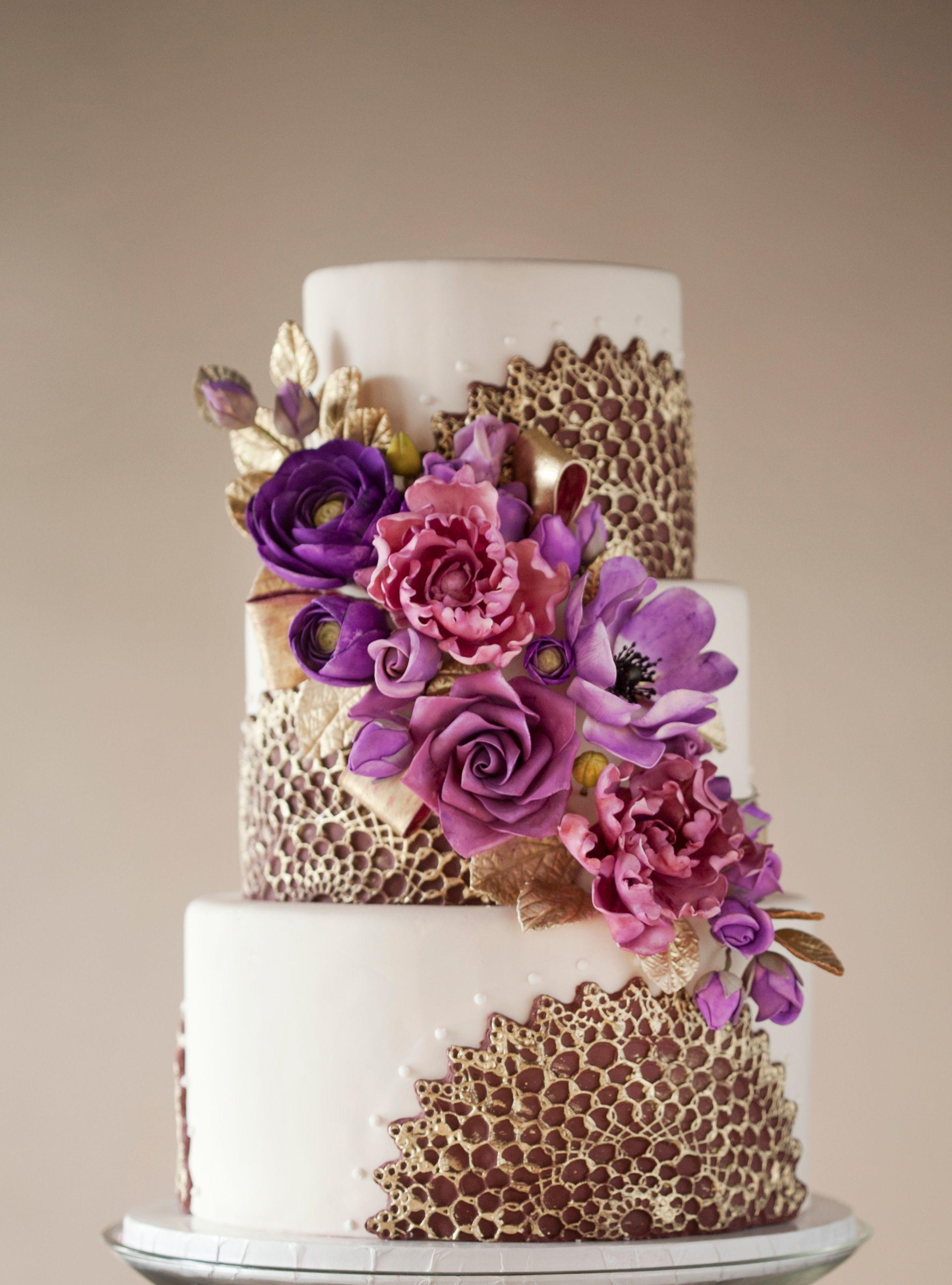 Purple & Gold wedding cake - Purple starburst lace molds brushed ...