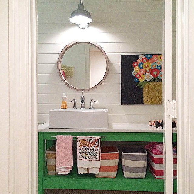 A little sneak peek at the bathroom in my studio! #littleestudio #studiopeek #shiplap #colorpop #nashville