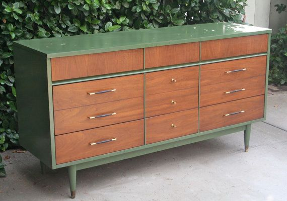 Mid Century Modern Dresser With Fern Green Color To Compliment The Walnut Tones Refurbished Furniture Flipping Furniture Retro Furniture