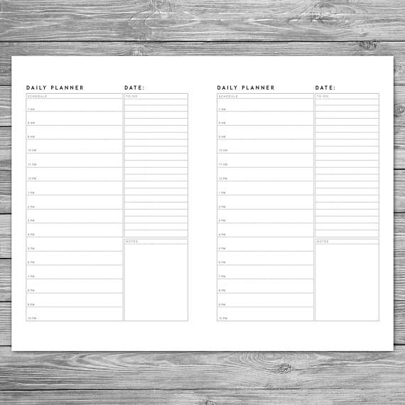 Printable Minimalist Daily Planner, Daily Schedule, Daily Agenda