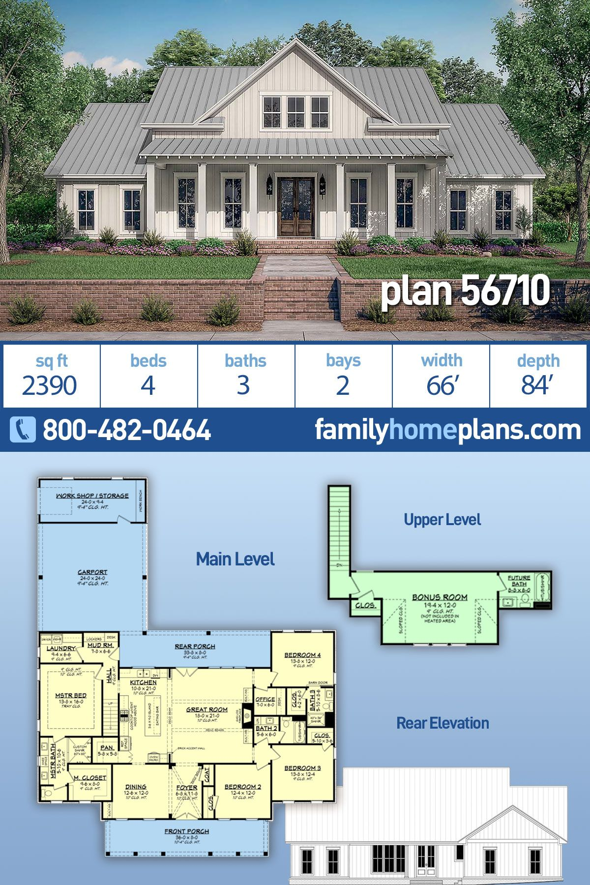 Photo of Modern Farmhouse Plan #56710 is 2390 Sq Ft, 4 Bedrooms, 3 Bathrooms and 2 Car Carport with Work Shop