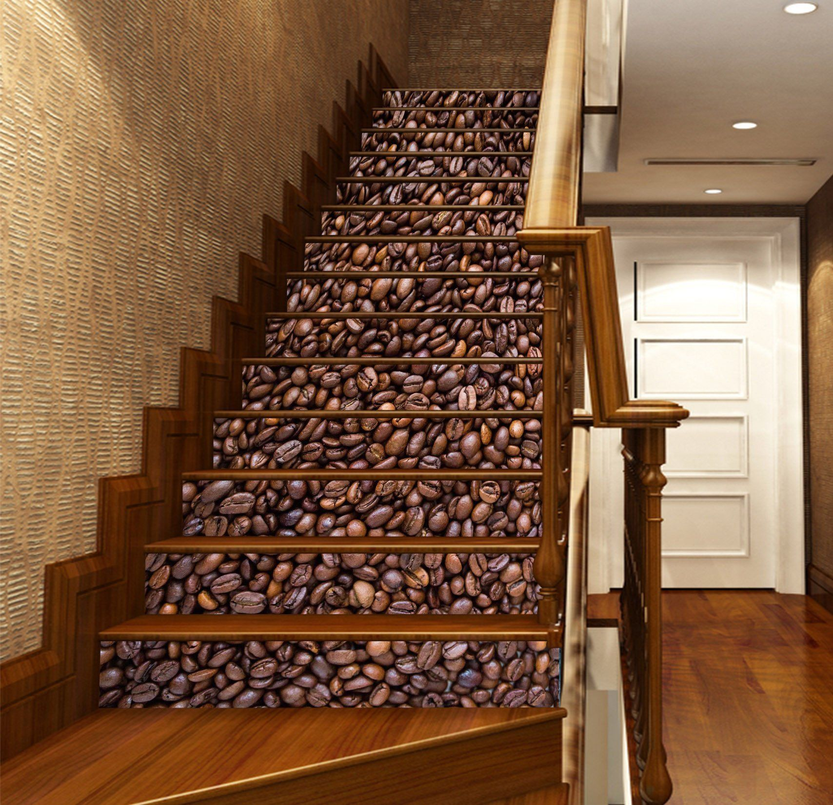 20 Excellent Traditional Staircases Design Ideas: 3D Coffee Beans Heap 1138 Stair Risers